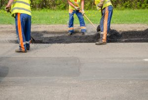 This is a picture of an asphalt sealcoating.